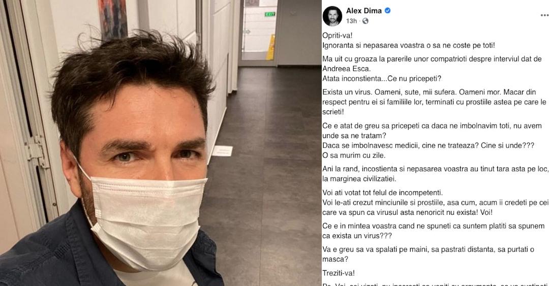 """Alex Dima pentru fanii lui Garcea: """"Ce e în mintea voastră când ne spuneți căsuntem plătiți săspunem ca existăun virus?"""" Răspuns: în mintea lor sunt făinaşi uleiul primite în ultimii 30 de ani la alegeri!"""