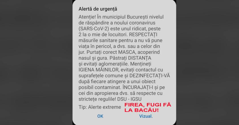 """Ultima alertă pentru Bucureşti înainte de închiderea oraşului! Aceasta conține şi un mesaj subtil pentru cel mai prețios locuitor al capitalei""""FIREA, FUGI FĂ LA BACĂU!"""""""
