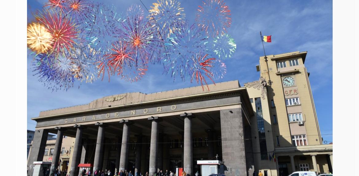 Artificii în miezul zilei la Gara de Nord: a sosit Anul Nou cu CFR-ul!