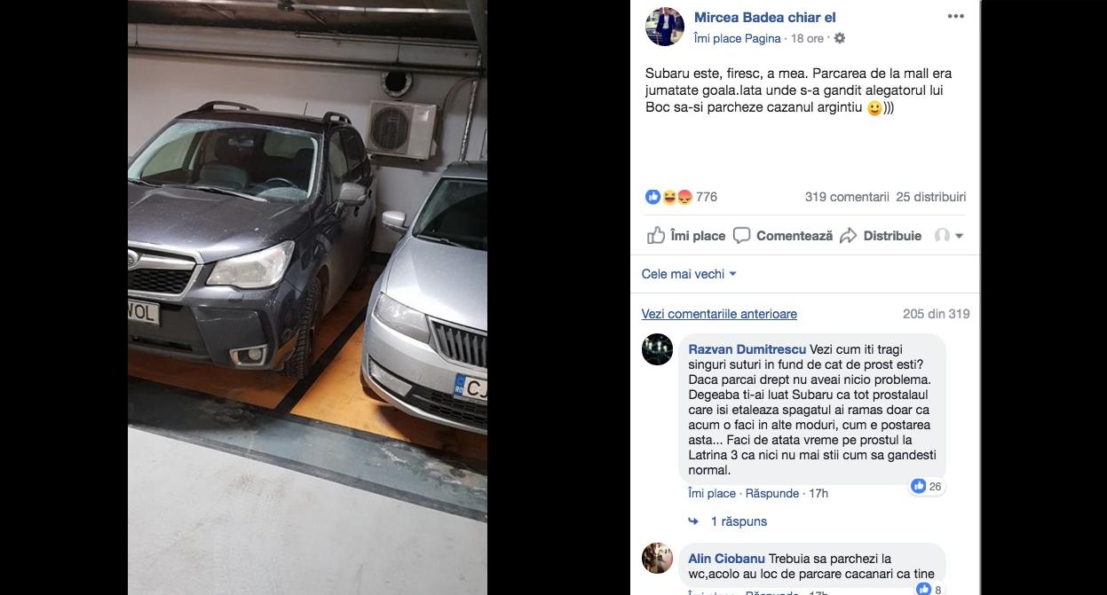 Tipic Antena3: Mircea Badea a parcat ca un bou, dar îl înjurăpe ardeleanul care a parcat corect lângă el
