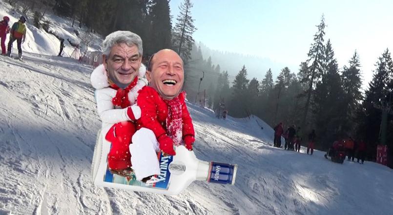 Haos pe pârtiile din Poiană: Băsescu şi Tudose se dau cu Săniuța!