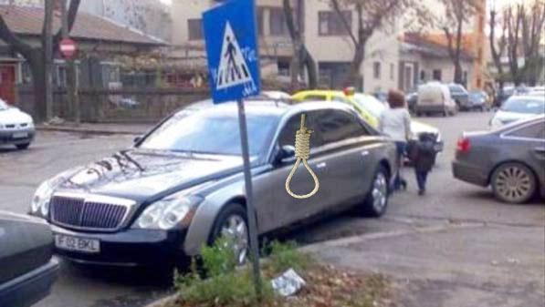 ÎnPipera a fost văzut un Maybach din care atârnăo frânghiepe geamul de la şofer!