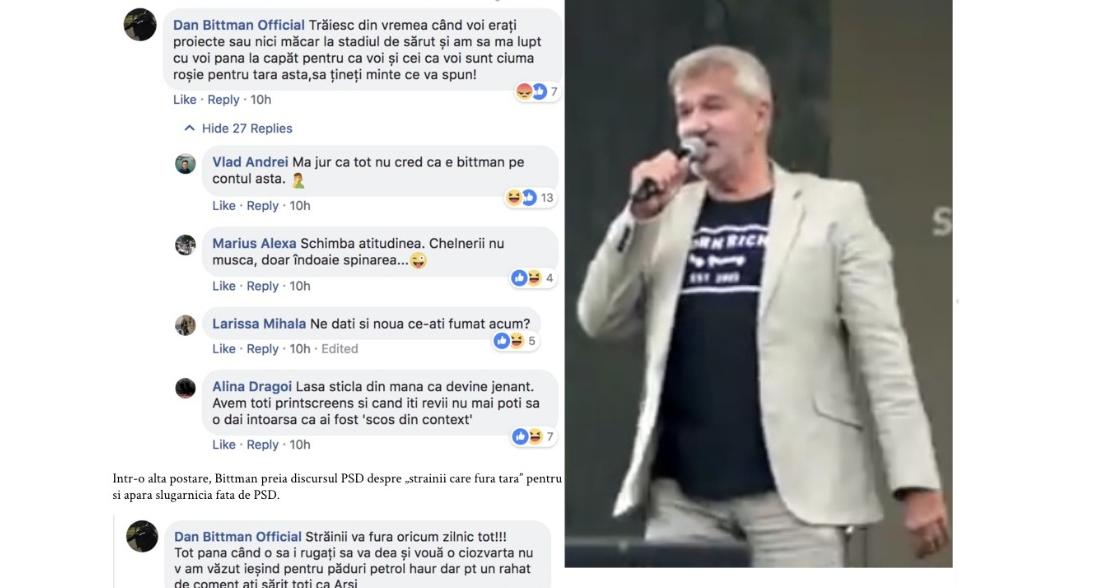 Dan Bittman nu se poate opri din mâncat rahat PSD-ist pe Facebook!