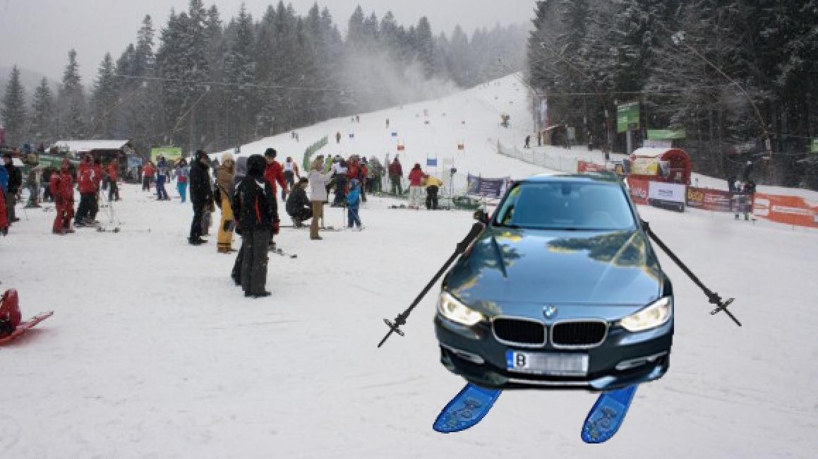BMW-ul cu schiuri - vedeta zilei pe pârtii!