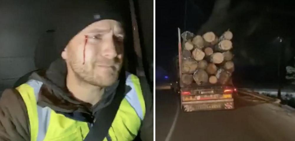 Român atacat de mafia lemnului pentru că a filmat şi urmărit un camion, în timp ce autoritățile nu fac nimic