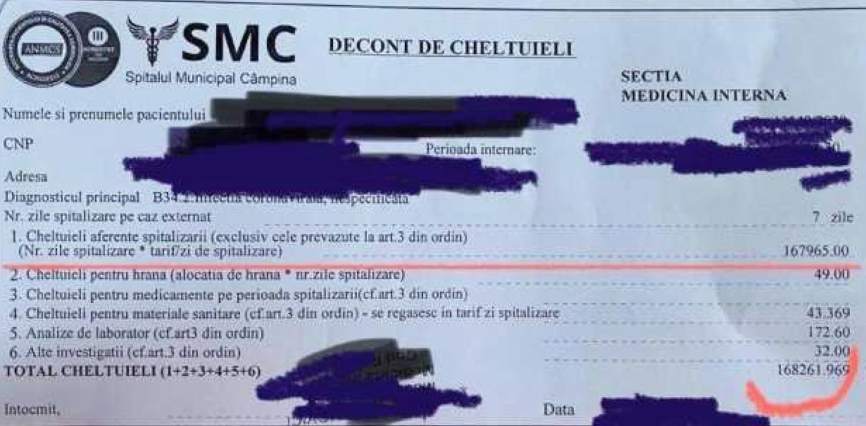 168.000 de lei 7 zile de spitalizare la Câmpina pentru un pacient cuCovid-19. Iar voi vă întrebați cum se vor fura cele 80 de miliarde de la UE!