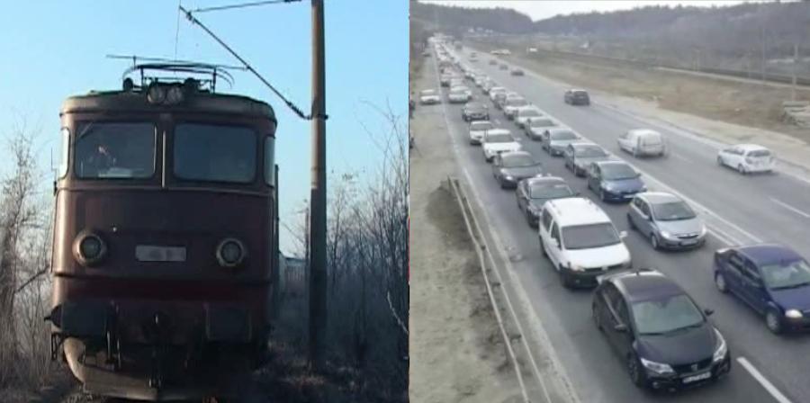 Un tren CFR și o coloană de mașini de pe DN1 s-au luat la întrecere: cine merge mai încet?