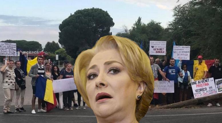 MUYPSD! Românii din Madrid o așteaptă pe Viorica în fața palatului regal!
