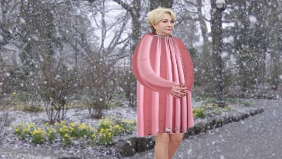 Tanti Viorica, luată prin surprindere de revenirea iernii: ea trecuse la draperia de primăvară!