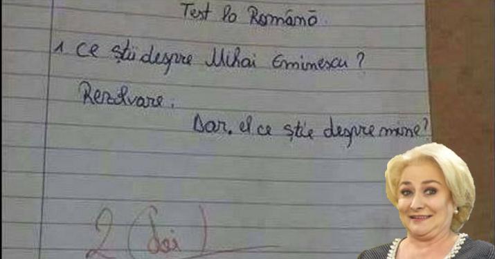Statul paralel a găsit în arhiva școlii din Videle un test la românăal Vioricăi!