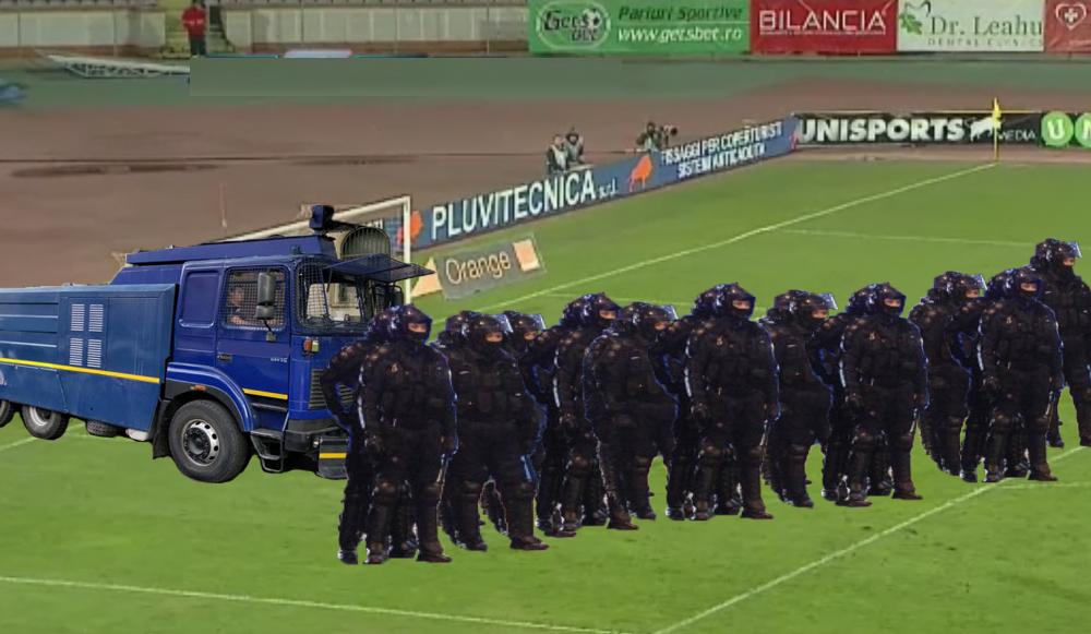 Ca să nu mai ia atât de multe goluri, Dinamo își vaînlocuilinia de fundași cu un cordon de jandarmi!