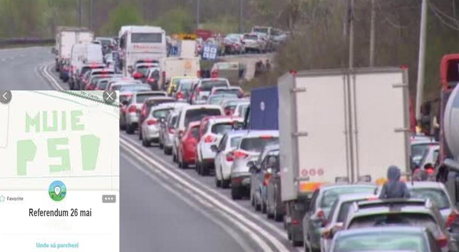 Din nou blocaj pe DN1. Waze recomandă ruta pe la secția de vot, pe 26 mai