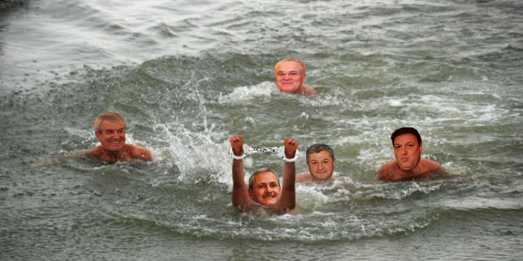 Minune de Bobotează:Dragnea a sărit în apă săprindăcrucea, dar a ieșit cu o pereche de cătușe!