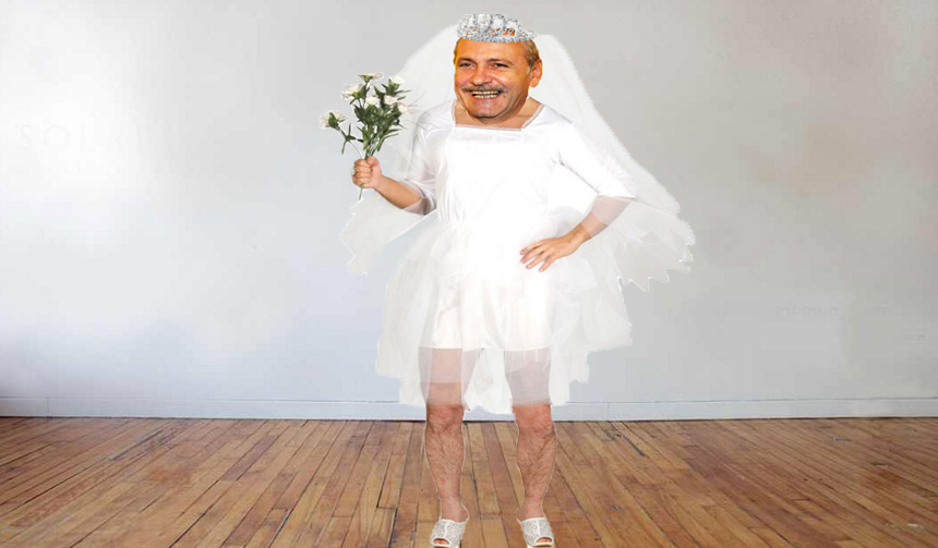 Dragnea se pregătește de nuntă! Iată-l probând o rochie de mireasă, ca să vadă cum o să arate la Jilava!