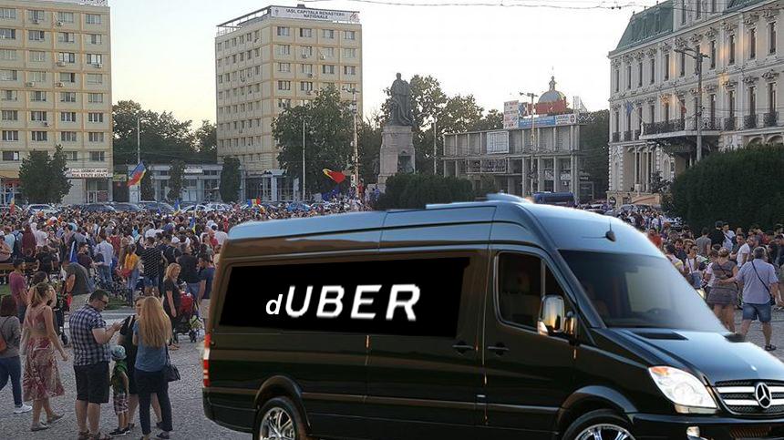Uber lansează o aplicație pentru dube, ca să te ia de la protest înaintea jandarmilor!