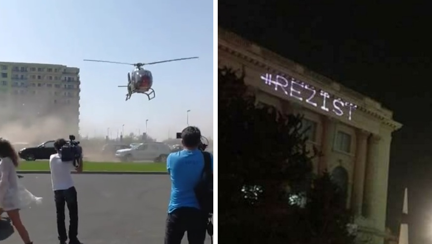 Omori lumea cu elicopterul la Mamaia și nu pățești nimic, dar dacă scrii #REZIST cu laserul te saltă imediat miliția!