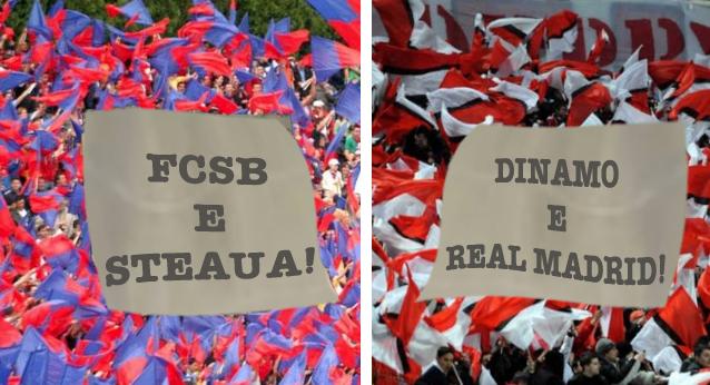 Mai tarica steliștii care spun că FCSB e Steaua:dinamoviștii susțin că Dinamo e Real Madrid!