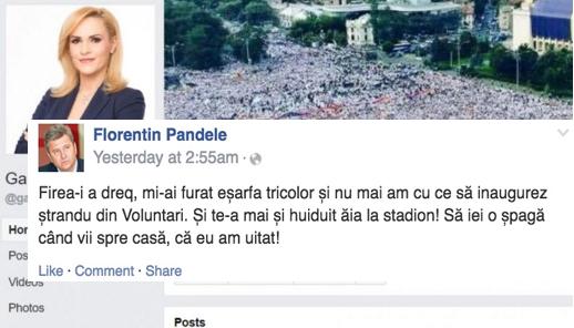 Și Pandele a înjurat-o pe Firea pe Facebook!