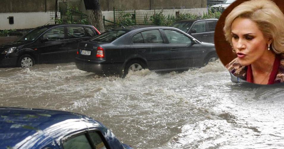 Fierea cere jandarmilor să amendeze apa care a ieșitpe străzile Capitalei fără autorizație de la Primărie!