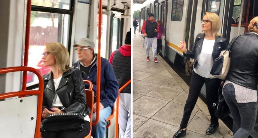 """Paparazzi aranjat: Fierea mergând la serviciu cu tramvaiul, """"ca un om obişnuit"""". I s-a urcat sârma din kur la cap"""