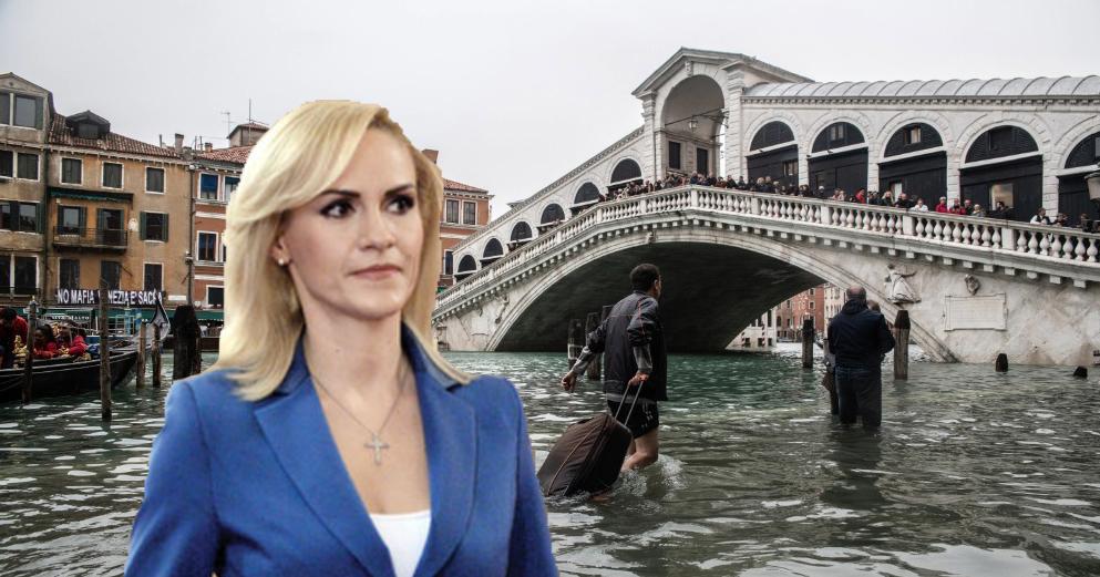 Autoritățile venețiene cer ajutorul Gabrielei Firea pentru a le desfunda canalele cu sârma din dotare!
