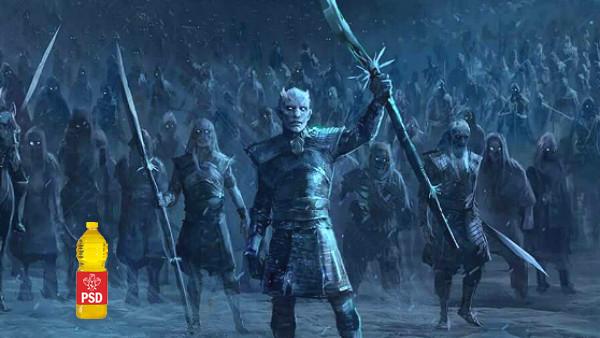Gafă în Game of Thrones: o sticlă de ulei cu sigla PSD apare printre White Walkers!