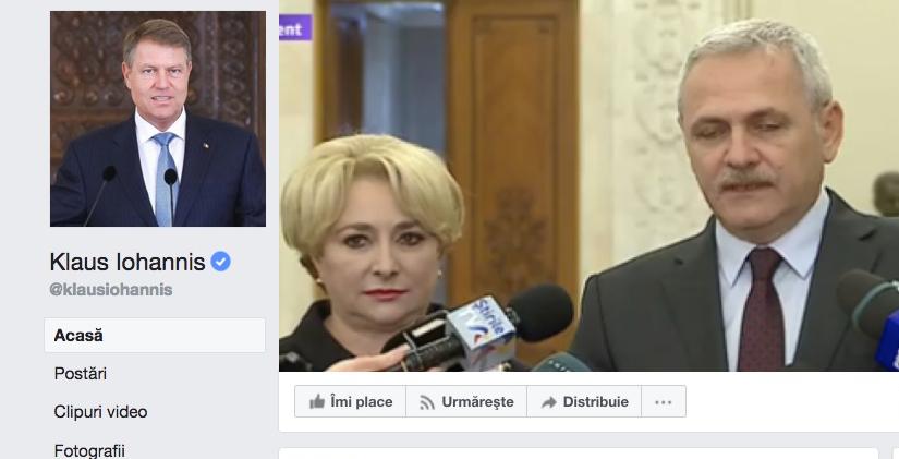 Iohannis mai are doar două like-uri pe Facebook: unul de la Dragnea și unul de la Viorica!