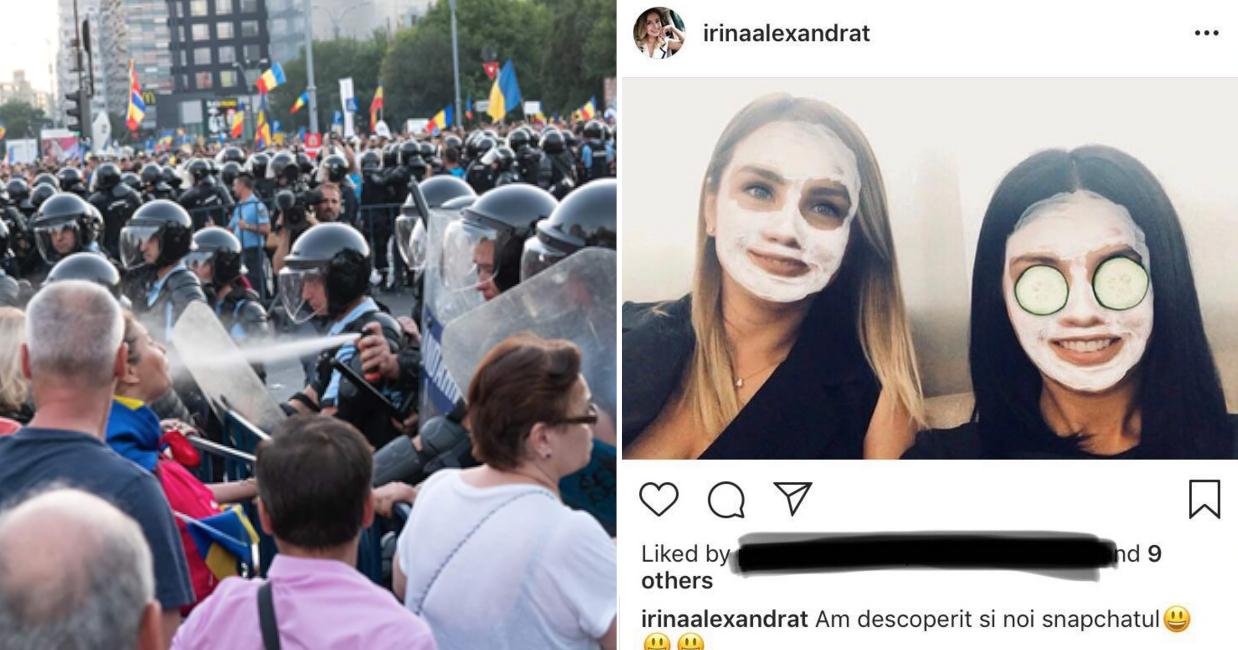 Ce drăguuuț! În timp ce pe voi vă gazaujandarmii, Irinuca se rupea în bășini pe Snapchat!