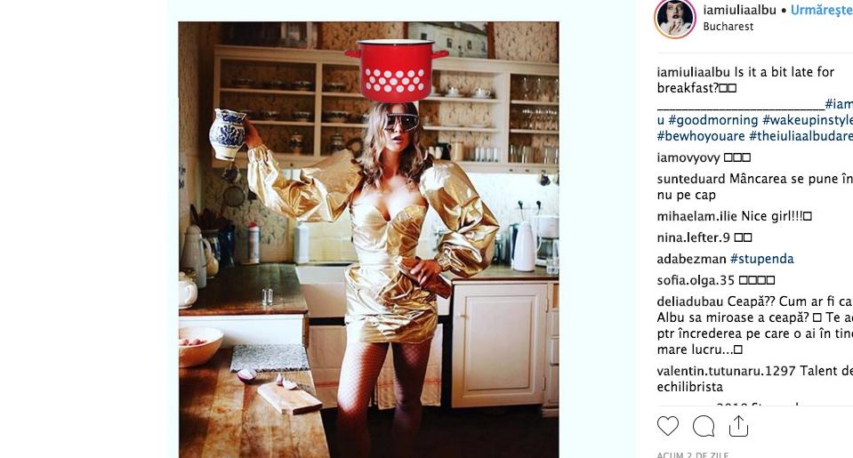 Iulia Albu în bucătărie: a pus găina la fiert!