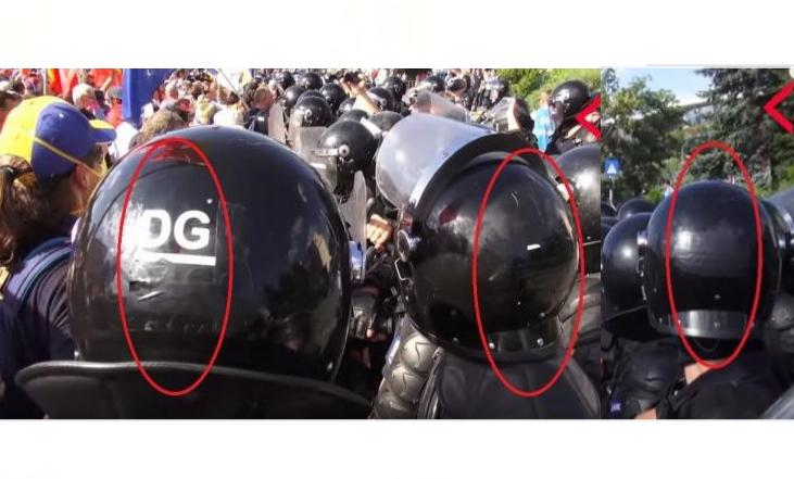 Jandarmeria acționează cao organizație teroristă: jandarmii și-au acoperit numerele de identificare de pe căști cu o bandă neagră!
