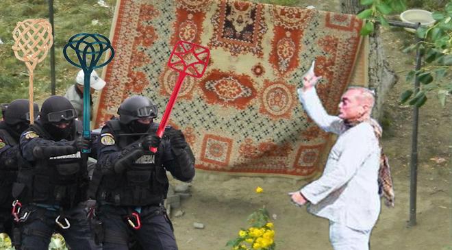 Cum să scapi de efort la curățenie: Un bucureștean și-a turnat covorul la jandarmi că înjură PSD-ul!