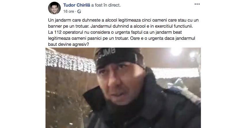 """""""Jandarmul turmentat"""" care l-a legitimat pe Tudor Chirilă va fi propus spre avansare la general"""