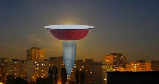 Pe cerul Capitalei a apărut un OZN în formă de lighean care îi răpeşte pe bucureşteni şi le face baie!