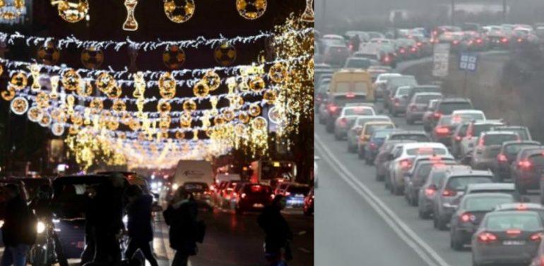 Primăria Capitalei a extins luminițele de Crăciun până la Comarnic, undeîși fac sărbătorile bucureșteniiblocați pe DN1