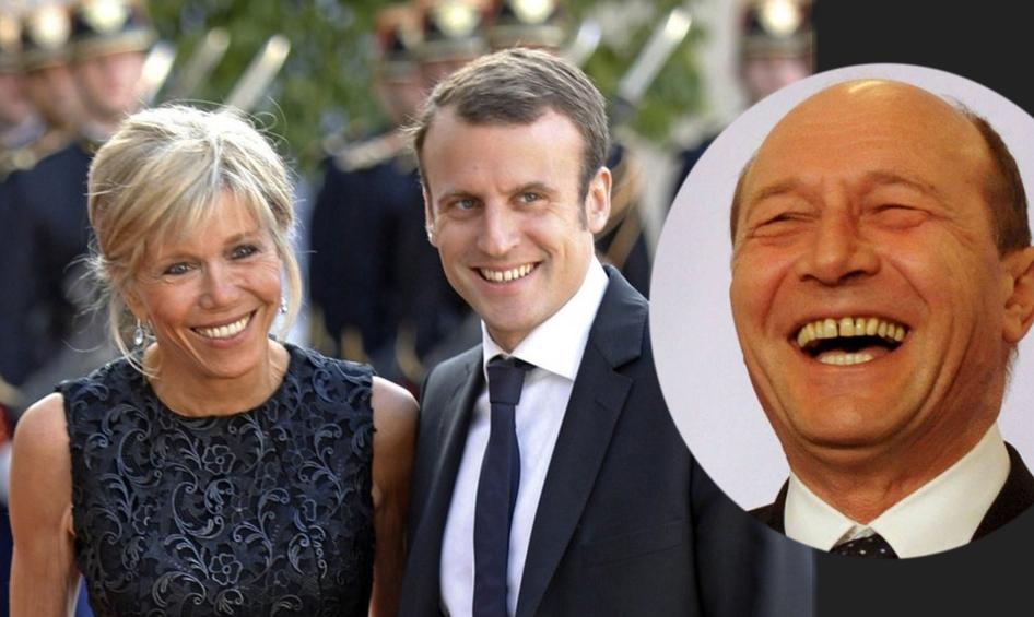 """Băsescu râde de Macron: """"Ăla e președinte, care se încurcă cu o blondă mai bătrână decât el?"""""""