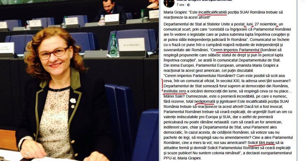 Duamna Maria Grapini sare l-a bere gata americanilor: Este incalificalificabil!