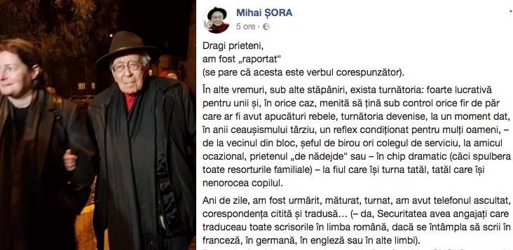 """Imbecilii PSD au preluat controlul asupra Facebook și l-au blocat pe Mihai Șora. Asta înseamnă """"prostie artificială""""!"""