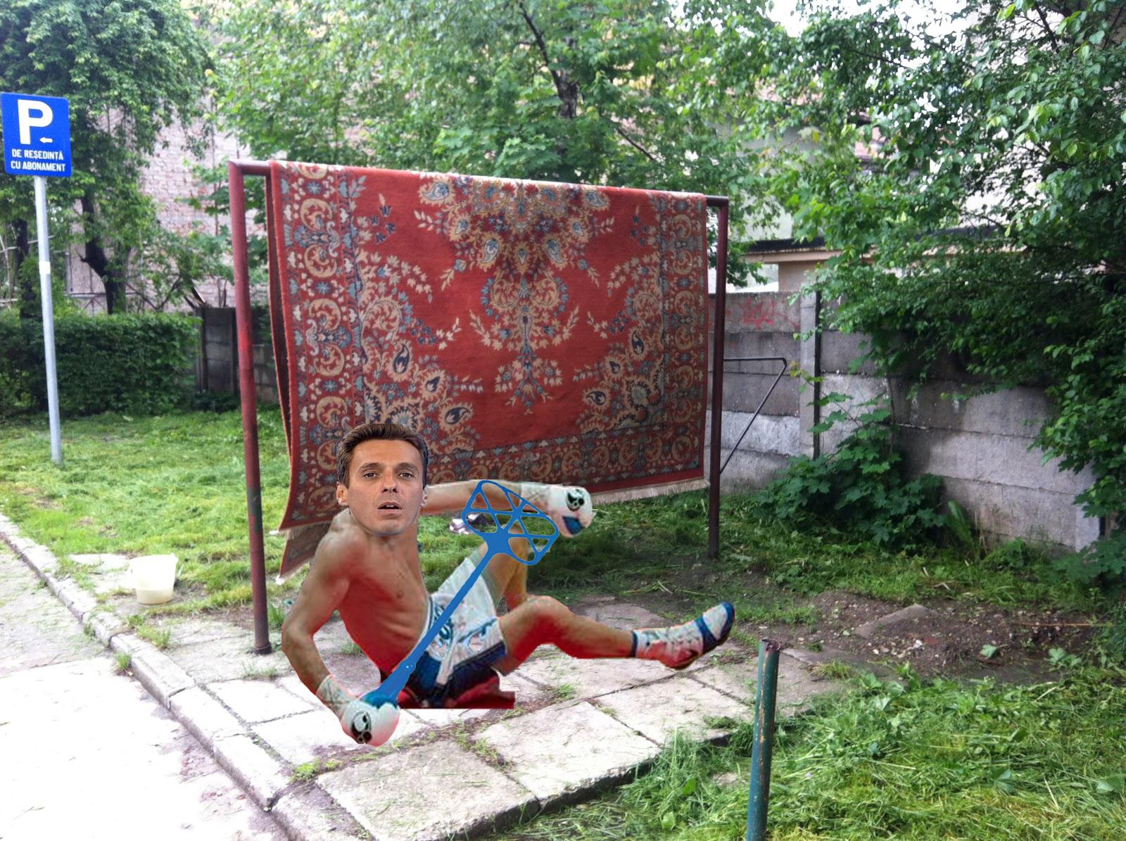 Curățenia de primăvară face victime: Mircea Badea a fost bătut de covor în 5 secunde!