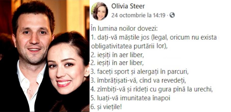 """Olivia Steer acum o săptămână: """"Dați-vă măștile jos!"""" Andi Moisescu azi: are Covid!Dragostea e nu doar oarbă, mai e şi lipsită de gust şimiros!"""