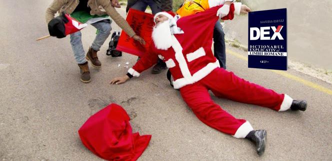 Moș Crăciun a fost linșat în Ținutul Secuiesc după ce i-a lăsat unui copil un DEXsub brad!