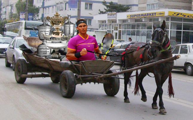Nadal, surprins de presa franceză când își ducea trofeele cu căruța la fer vechi!