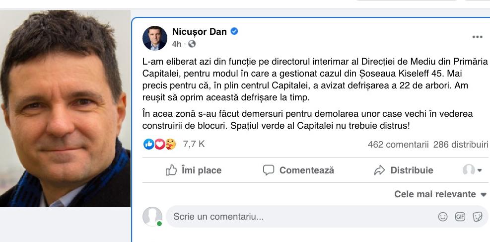 Încă un abuz al lui Nicușor: l-a dat afară pe nenorocitul care a avizat defrișarea arborilor de pe Șoseaua Kiseleff ca să se facă blocuri