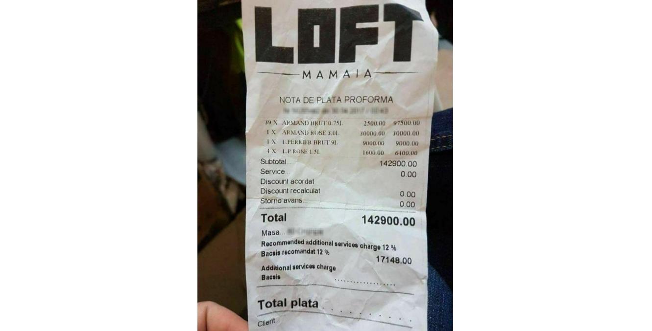 Notă de plată de la LOFT Mamaia. Din bacșiș îți iei Logan cu cristale Swarovski și benzină până în Croația