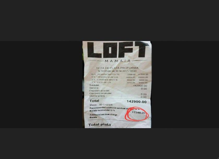 Notă de plată la LOFT Mamaia. Doar din bacșiș ții o lună un orfelinat