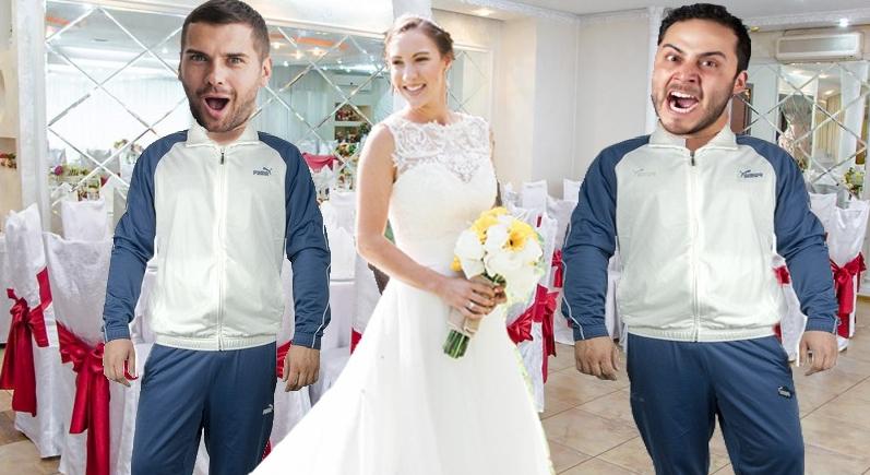 Scandal la o nuntă din Moldova: un invitat a venit îmbracat într-un trening identic cu al mirelui!