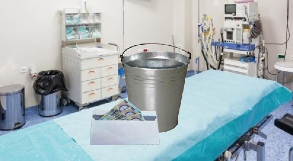 Pacienții vor da anestezistului înainte de operație un plic cu bani şi o găleată cu apă!