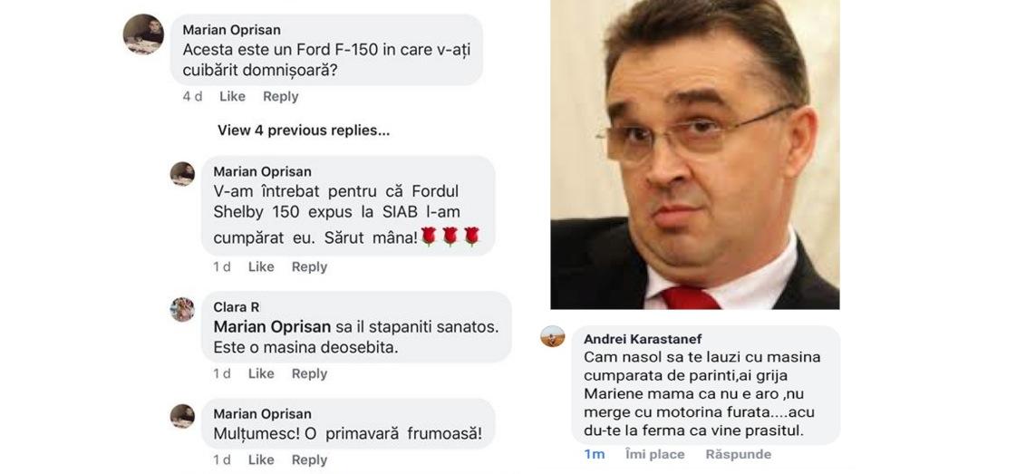 Oprișan se laudă la gagicile de pe Facebook cu mașina cumpărată de mă-sa
