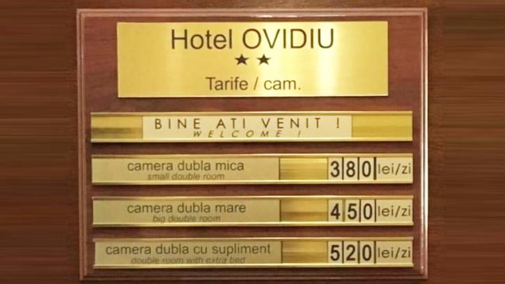 Prețurile camerelor de la hotelul Ovidiu din Hawaii, jud. Constanța. Nu e clar dacă prețurile sunt pentru închiriat sau pentru cumpărat