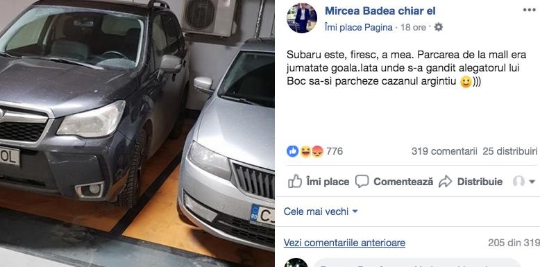 A parcat perfect Mircea Badea. De obicei, idiotul parchează pe două locuri, în șpagat