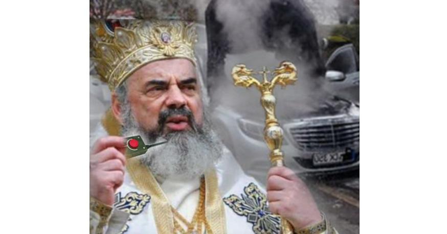Patriarhul Daniel și-a incendiat Mercedesul vechi de frică să nu ajungă pe mâna săracilor!